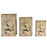 Conjunto Caixa Livro Book Box Decorativo Seda Pássaro Gaiola 3 peças