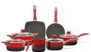 Conjunto De Panelas Ceramic Life Smart 7 Peças Vermelho - Brinox