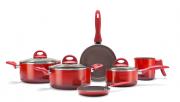 Conjunto De Panelas Ceramic Life Smart Plus 6 Peças - Brinox - Vermelho