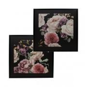 Conjunto Duas Telas Impressas Floral Com Moldura  80x80x3cm