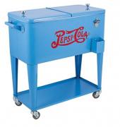Cooler Pepsi-Cola Azul Fullway Em Metal - Com Rodas