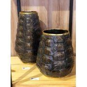 Vaso Decorativo Em Resina Estilo Couro De Tartaruga 35 X 20 X 20