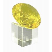 Diamante de Cristal 60mm Amarelo com base  imp