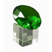 Diamante De Cristal 60mm Verde Com Base  Imp