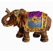 Estatua Imagem de Elefante Marrom Com Roxo P