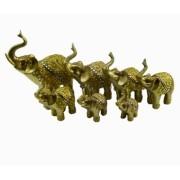 Estatua Imagem de Elefantes C/ 7 De Resina Dourado Importado