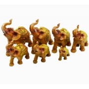 Estatua Imagem de Elefantes C/ 7 De Resina Madeira Importado
