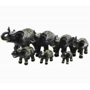 Estatua Imagem de Elefantes C/ 7 De Resina Tabaco Importado