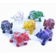 Estatua Imagem de Elefantes Colorido Mini Importado