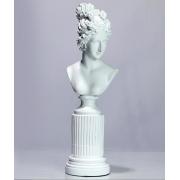 Escultura Busto Feminino Resina Branco 35x11x9cm