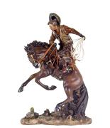 Escultura Cowboy Domando o Cavalo Oldway