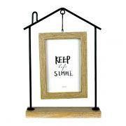 Porta Retrato Casa Keep Simple Ferro Madeira 29x20cm