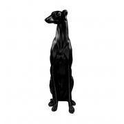 Escultura Resina Cachorro Galgo Preto 53x12x28cm