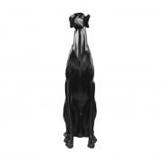 Escultura Resina Cachorro Galgo Preto 74x16x30cm