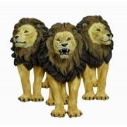 Escultura Trio Leões Parede Natural