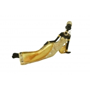 Estátua Africana Dourada Deitada Em Resina 24cm
