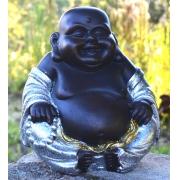 Estátua Chinês Buda Sorridente Gordo Prosperidade Prata 21cm