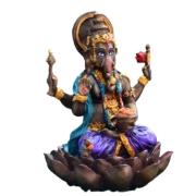 Estatua Enfeite Deus Ganesha Roxo Flor De Lótus G