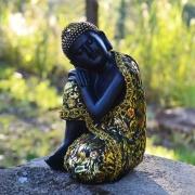 Estatua Imagem de Buda de Lado com Tecido 17cm