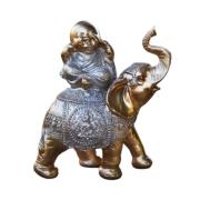 Estatua Imagem de Buda Com Elefante Dourado Importado