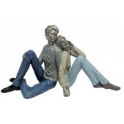 Estatueta Resina Casal Sentado 33x13x18,5cm