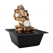 Fonte Zen de Água Ganesha Ouro Velho Com Bola