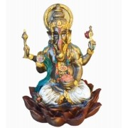 Estatua Enfeite Deus Ganesha Branco Flor De Lótus G