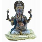 Estatua Enfeite Deus Ganesha Branco Na Almofada G
