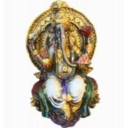 Estatua Enfeite Deus Ganesha Branco No Trono
