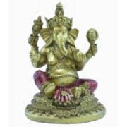 Ganesha Dourado Base Redonda P