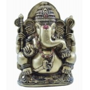 Estatua Enfeite Deus Ganesha G Dourado Costas Lisa