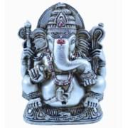 Estatua Enfeite Deus Ganesha G Prata Costas Lisa