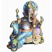 Estatua Enfeite Deus Ganesha Gordo No Trono