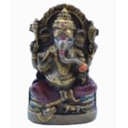 Estatua Enfeite Deus Ganesha P Vermelho Costas Lisa Plana