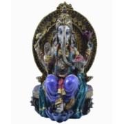 Estatua Enfeite Deus Ganesha Roxo No Trono