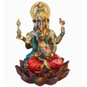 Estatua Enfeite Deus Ganesha Vermelho Flor De Lótus G