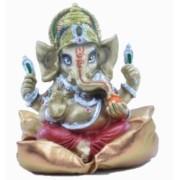 Estatua Enfeite Deus Ganesha Vermelho Na Almofada