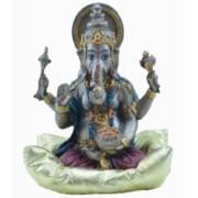 Estatua Enfeite Deus Ganesha Vermelho Na Almofada G