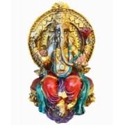 Estatua Enfeite Deus Ganesha Vermelho No Trono