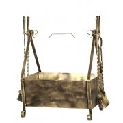 Cesto de lenha com Kit de limpeza para lareira com  G cabo ferro Torneado
