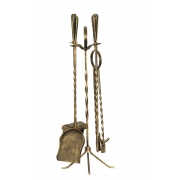 Kit de limpeza para lareira médio cabo Ferro Torneado Ouro Velho