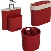 Kit Dispenser Porta Sabão E Esponja Lixeira E Porta Talher