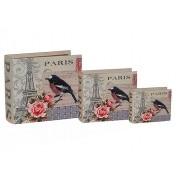 Livro Caixa Decorativo Book Box Conjunto 3 Peças Paris Bird