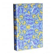 Livro Caixa Book Box Papel de Parede Florido Azul 21X14X3CM