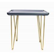 Mesa Lateral Metal Madeira Preta E Dourada