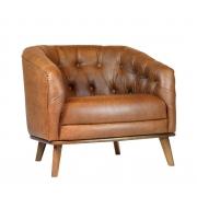 Poltrona Classic Wood Captone Pu Marrom 77x80x72cm