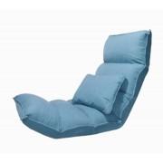 Poltrona De Chão Reclinável Linho Azul 170x70x17cm