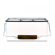 Porta  Objetos com Alça Esmaltado Branco 27x18x23cm