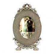 Porta Retrato Oval Prata Envelhecida