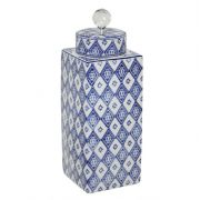 Pote De Porcelana Com Tampa Azul Oldway